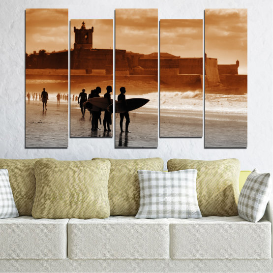 Canvas prints & wall decorative panels - 5 pieces №0042 » Orange, Brown, Gray, Beige » Sea, Summer, Seaside, Sand, Shadow Form #3
