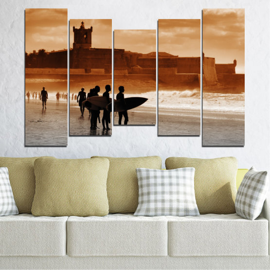 Canvas prints & wall decorative panels - 5 pieces №0042 » Orange, Brown, Gray, Beige » Sea, Summer, Seaside, Sand, Shadow Form #4