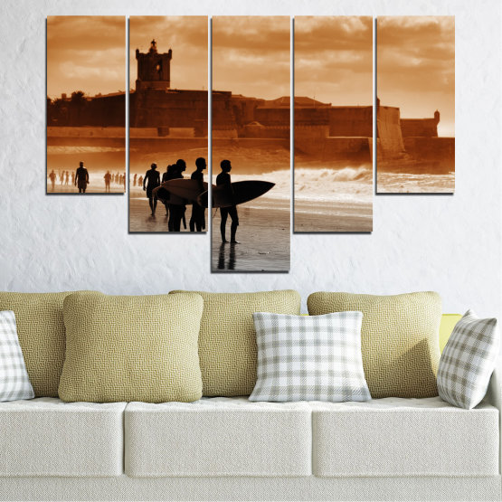 Canvas prints & wall decorative panels - 5 pieces №0042 » Orange, Brown, Gray, Beige » Sea, Summer, Seaside, Sand, Shadow Form #6
