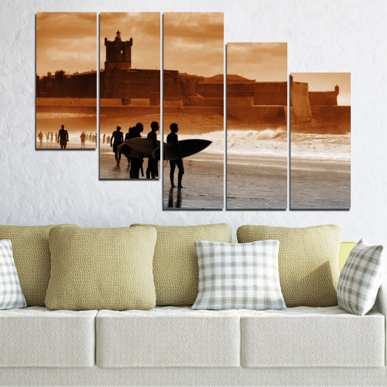 Canvas prints & wall decorative panels - 5 pieces №0042 » Orange, Brown, Gray, Beige » Sea, Summer, Seaside, Sand, Shadow Form #7