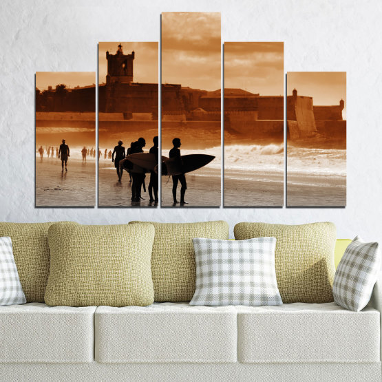 Canvas prints & wall decorative panels - 5 pieces №0042 » Orange, Brown, Gray, Beige » Sea, Summer, Seaside, Sand, Shadow Form #5