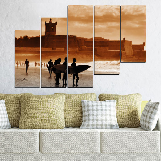 Canvas prints & wall decorative panels - 5 pieces №0042 » Orange, Brown, Gray, Beige » Sea, Summer, Seaside, Sand, Shadow Form #8