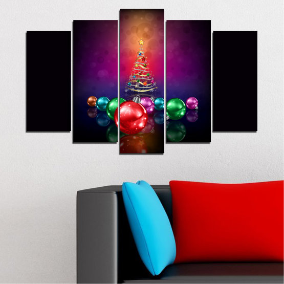 Canvas prints & wall decorative panels - 5 pieces №0420 » Red, Purple, Black, Dark grey » Decoration, Christmas, Holiday Form #1