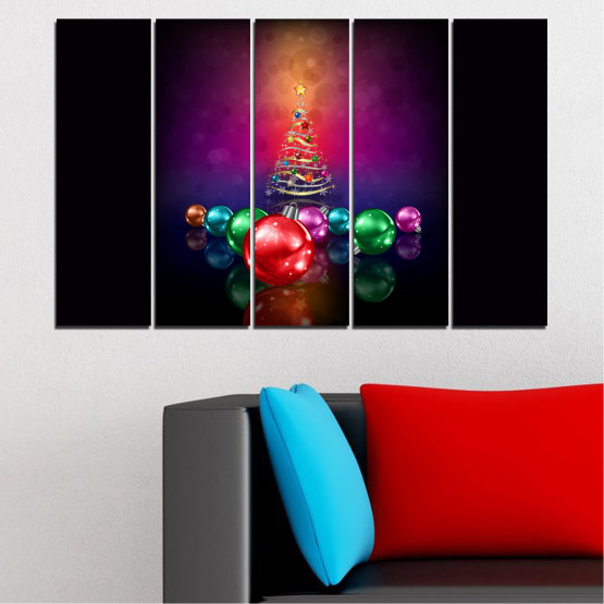 Canvas prints & wall decorative panels - 5 pieces №0420 » Red, Purple, Black, Dark grey » Decoration, Christmas, Holiday Form #2