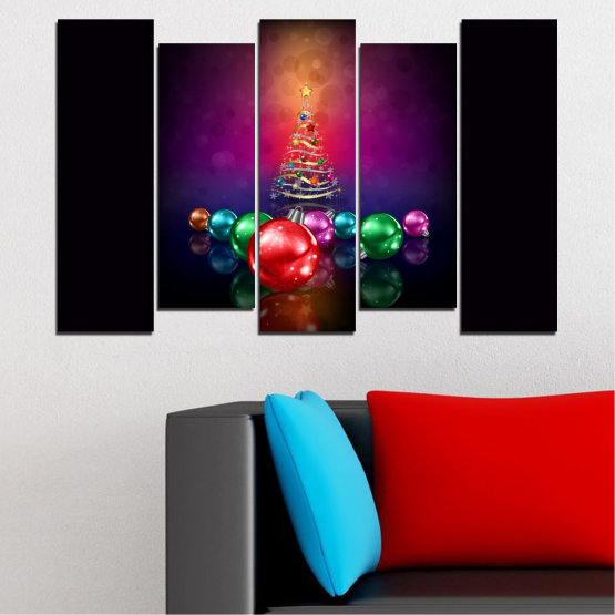 Canvas prints & wall decorative panels - 5 pieces №0420 » Red, Purple, Black, Dark grey » Decoration, Christmas, Holiday Form #3