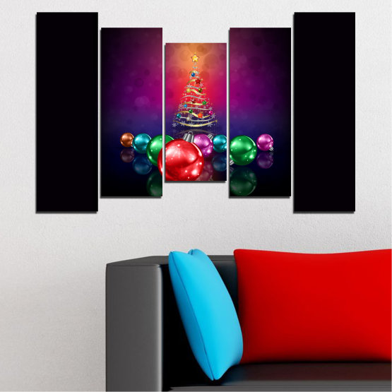 Canvas prints & wall decorative panels - 5 pieces №0420 » Red, Purple, Black, Dark grey » Decoration, Christmas, Holiday Form #4