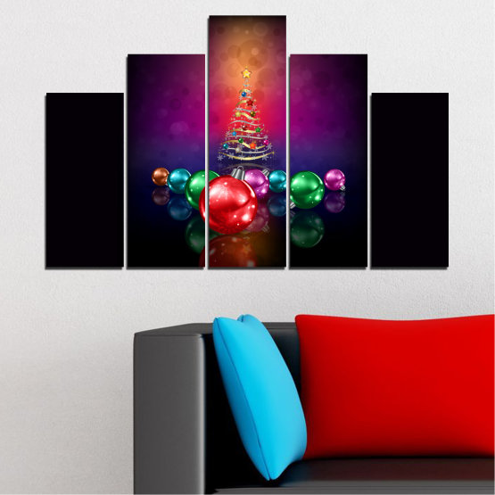 Canvas prints & wall decorative panels - 5 pieces №0420 » Red, Purple, Black, Dark grey » Decoration, Christmas, Holiday Form #5