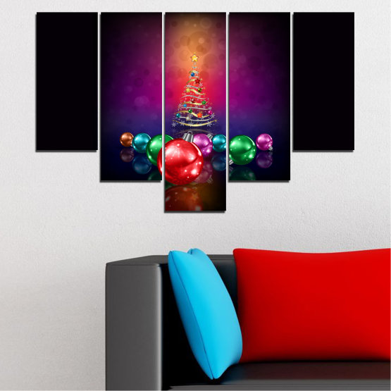 Canvas prints & wall decorative panels - 5 pieces №0420 » Red, Purple, Black, Dark grey » Decoration, Christmas, Holiday Form #6