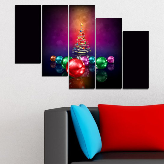 Canvas prints & wall decorative panels - 5 pieces №0420 » Red, Purple, Black, Dark grey » Decoration, Christmas, Holiday Form #7