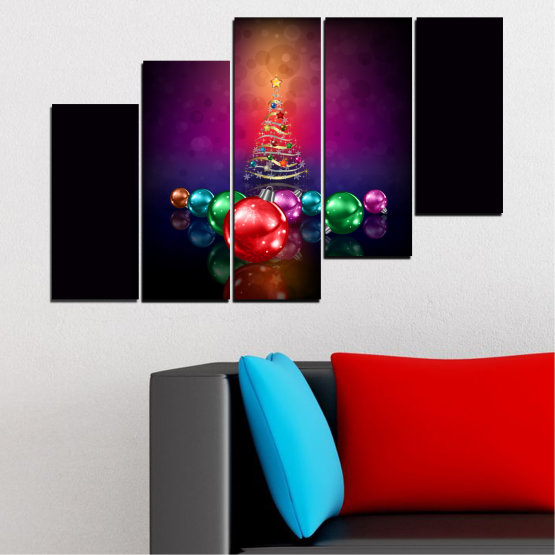 Canvas prints & wall decorative panels - 5 pieces №0420 » Red, Purple, Black, Dark grey » Decoration, Christmas, Holiday Form #8