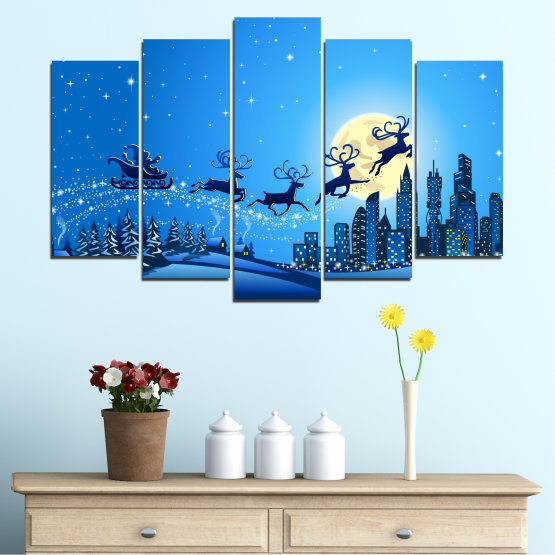 Canvas prints & wall decorative panels - 5 pieces №0421 » Blue, Turquoise, Dark grey » City, Night, Snow, Winter, Christmas, Santa claus, Holiday, Sled Form #1