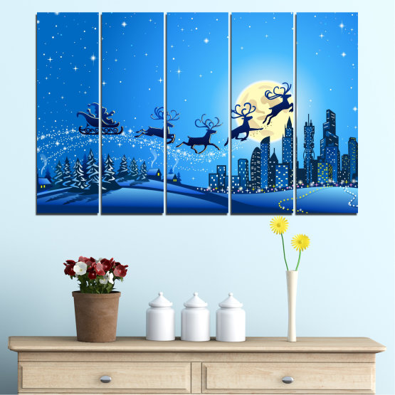 Canvas prints & wall decorative panels - 5 pieces №0421 » Blue, Turquoise, Dark grey » City, Night, Snow, Winter, Santa claus, Christmas, Holiday, Sled Form #2