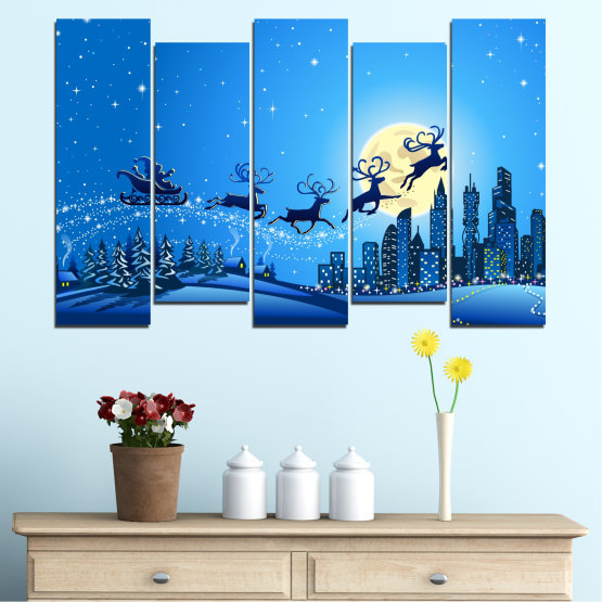 Canvas prints & wall decorative panels - 5 pieces №0421 » Blue, Turquoise, Dark grey » City, Night, Snow, Winter, Christmas, Santa claus, Holiday, Sled Form #3