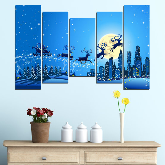 Canvas prints & wall decorative panels - 5 pieces №0421 » Blue, Turquoise, Dark grey » City, Night, Snow, Winter, Santa claus, Christmas, Holiday, Sled Form #4
