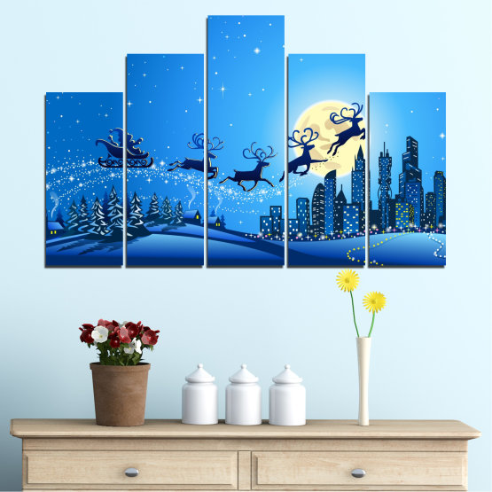 Canvas prints & wall decorative panels - 5 pieces №0421 » Blue, Turquoise, Dark grey » City, Night, Snow, Winter, Christmas, Santa claus, Holiday, Sled Form #5