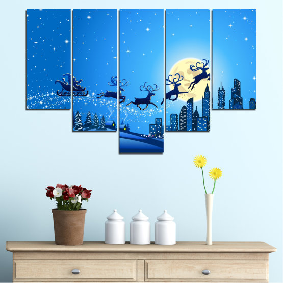 Canvas prints & wall decorative panels - 5 pieces №0421 » Blue, Turquoise, Dark grey » City, Night, Snow, Winter, Christmas, Santa claus, Holiday, Sled Form #6