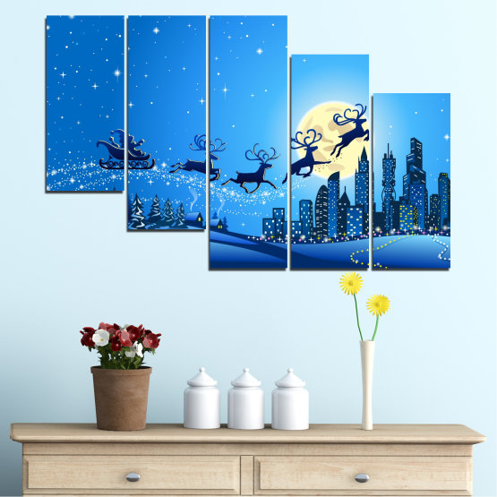 Canvas prints & wall decorative panels - 5 pieces №0421 » Blue, Turquoise, Dark grey » City, Night, Snow, Winter, Santa claus, Christmas, Holiday, Sled Form #7