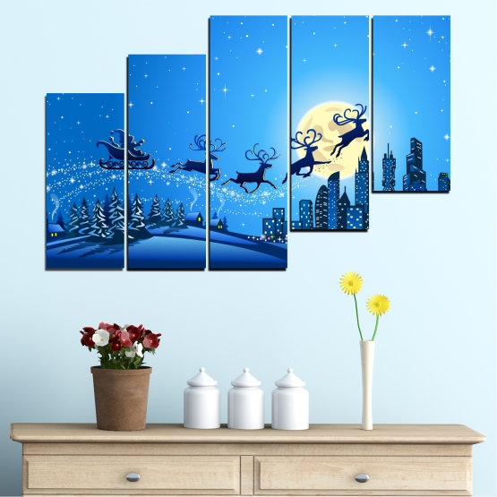 Canvas prints & wall decorative panels - 5 pieces №0421 » Blue, Turquoise, Dark grey » City, Night, Snow, Winter, Santa claus, Christmas, Holiday, Sled Form #8