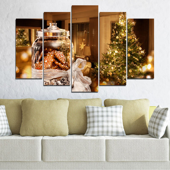Canvas prints & wall decorative panels - 5 pieces №0422 » Orange, Brown, Black, Beige » Decoration, Christmas, Holiday Form #1