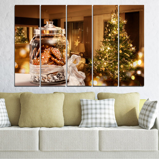 Canvas prints & wall decorative panels - 5 pieces №0422 » Orange, Brown, Black, Beige » Decoration, Christmas, Holiday Form #2