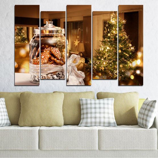 Canvas prints & wall decorative panels - 5 pieces №0422 » Orange, Brown, Black, Beige » Decoration, Christmas, Holiday Form #3