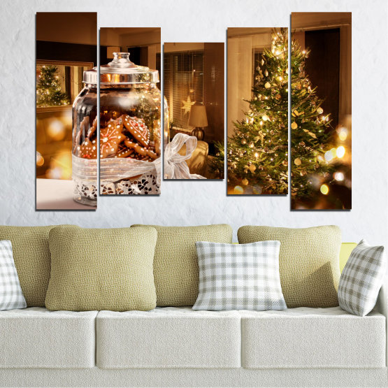 Canvas prints & wall decorative panels - 5 pieces №0422 » Orange, Brown, Black, Beige » Decoration, Christmas, Holiday Form #4