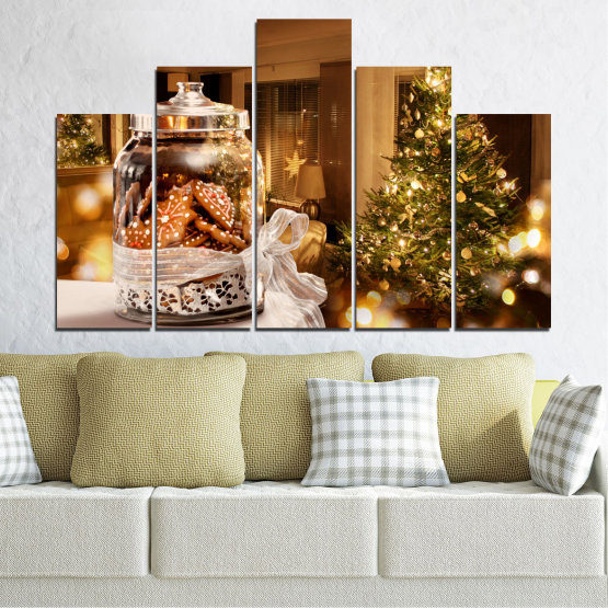 Canvas prints & wall decorative panels - 5 pieces №0422 » Orange, Brown, Black, Beige » Decoration, Christmas, Holiday Form #5