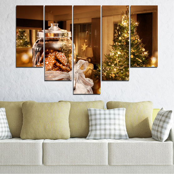 Canvas prints & wall decorative panels - 5 pieces №0422 » Orange, Brown, Black, Beige » Decoration, Christmas, Holiday Form #6