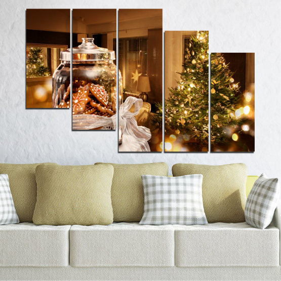 Canvas prints & wall decorative panels - 5 pieces №0422 » Orange, Brown, Black, Beige » Decoration, Christmas, Holiday Form #7