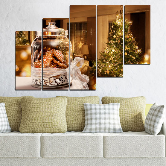 Canvas prints & wall decorative panels - 5 pieces №0422 » Orange, Brown, Black, Beige » Decoration, Christmas, Holiday Form #8