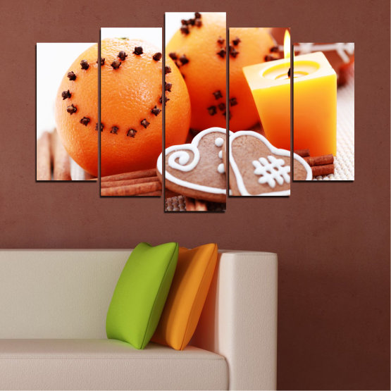 Canvas prints & wall decorative panels - 5 pieces №0423 » Yellow, Orange, Gray, White, Beige » Candle, Pastry, Christmas, Holiday Form #1