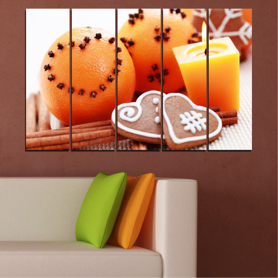 Canvas prints & wall decorative panels - 5 pieces №0423 » Yellow, Orange, Gray, White, Beige » Candle, Pastry, Christmas, Holiday Form #2