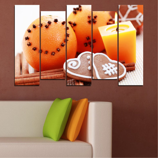 Canvas prints & wall decorative panels - 5 pieces №0423 » Yellow, Orange, Gray, White, Beige » Candle, Pastry, Christmas, Holiday Form #3