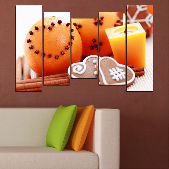 Canvas prints & wall decorative panels - 5 pieces №0423 » Yellow, Orange, Gray, White, Beige » Candle, Pastry, Christmas, Holiday Form #4