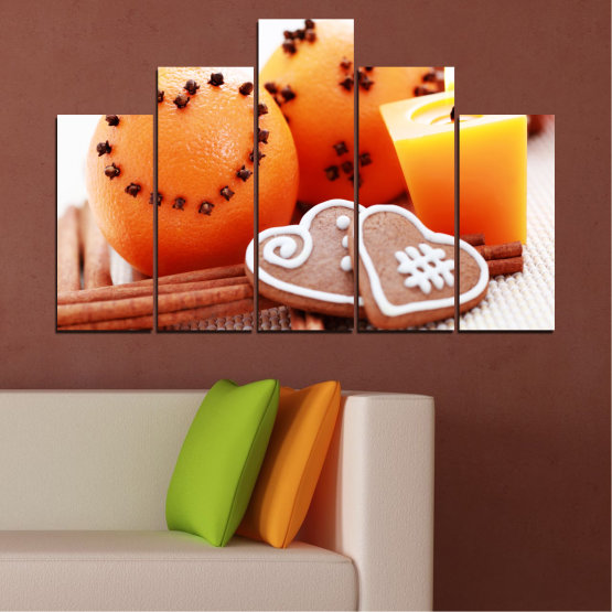 Canvas prints & wall decorative panels - 5 pieces №0423 » Yellow, Orange, Gray, White, Beige » Candle, Pastry, Christmas, Holiday Form #5
