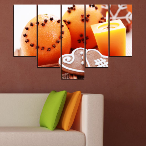 Canvas prints & wall decorative panels - 5 pieces №0423 » Yellow, Orange, Gray, White, Beige » Candle, Pastry, Christmas, Holiday Form #6