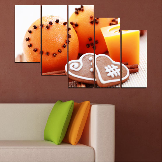 Canvas prints & wall decorative panels - 5 pieces №0423 » Yellow, Orange, Gray, White, Beige » Candle, Pastry, Christmas, Holiday Form #7