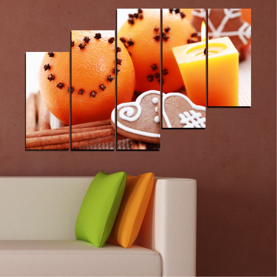 Canvas prints & wall decorative panels - 5 pieces №0423 » Yellow, Orange, Gray, White, Beige » Candle, Pastry, Christmas, Holiday Form #8