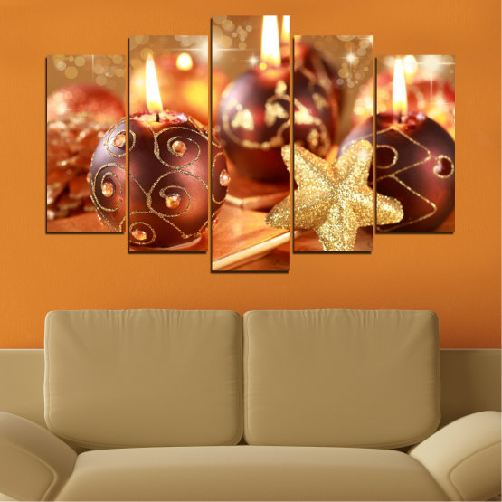 Canvas prints & wall decorative panels - 5 pieces №0424 » Red, Orange, Brown, Beige » Candle, Christmas, Holiday Form #1