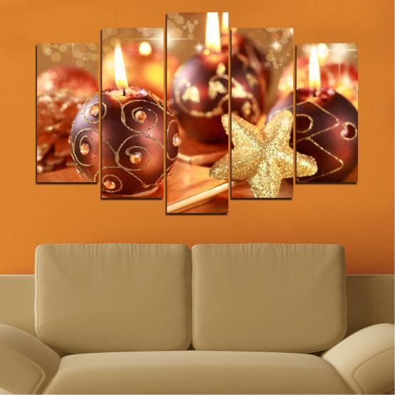 Декоративни панели и картини от канава - от 5 части №0424 » Червен, Оранжев, Кафяв, Бежов » Свещ, Коледа, Празник Form #1