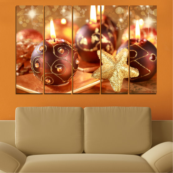 Canvas prints & wall decorative panels - 5 pieces №0424 » Red, Orange, Brown, Beige » Candle, Christmas, Holiday Form #2