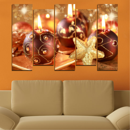 Canvas prints & wall decorative panels - 5 pieces №0424 » Red, Orange, Brown, Beige » Candle, Christmas, Holiday Form #3