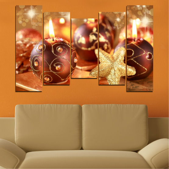 Canvas prints & wall decorative panels - 5 pieces №0424 » Red, Orange, Brown, Beige » Candle, Christmas, Holiday Form #4
