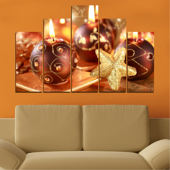 Canvas prints & wall decorative panels - 5 pieces №0424 » Red, Orange, Brown, Beige » Candle, Christmas, Holiday Form #5