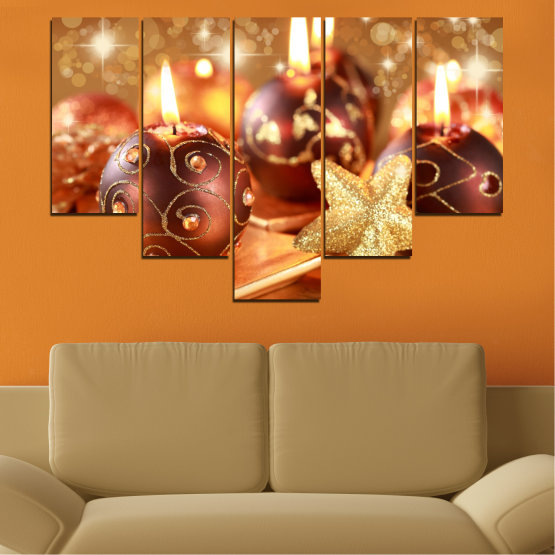 Canvas prints & wall decorative panels - 5 pieces №0424 » Red, Orange, Brown, Beige » Candle, Christmas, Holiday Form #6