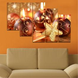 Декоративни панели и картини от канава - от 5 части №0424 Свещ 7-ма Форма