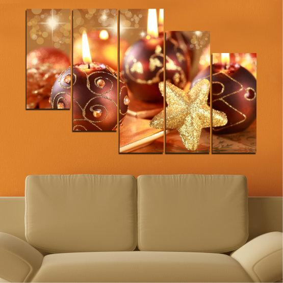 Декоративни панели и картини от канава - от 5 части №0424 » Червен, Оранжев, Кафяв, Бежов » Свещ, Коледа, Празник Form #7