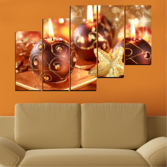 Canvas prints & wall decorative panels - 5 pieces №0424 » Red, Orange, Brown, Beige » Candle, Christmas, Holiday Form #8