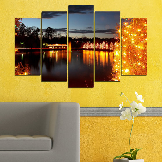 Canvas prints & wall decorative panels - 5 pieces №0425 » Red, Orange, Black, Gray, Dark grey » Decoration, Lights, Night, Christmas Form #1