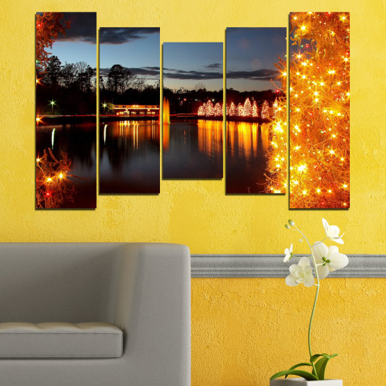 Canvas prints & wall decorative panels - 5 pieces №0425 » Red, Orange, Black, Gray, Dark grey » Decoration, Lights, Night, Christmas Form #4